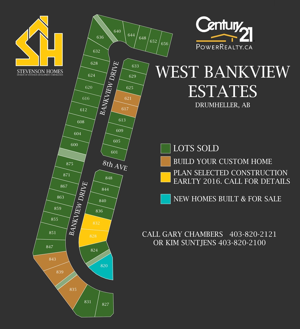 West Bankview Estates Drumheller Lot Map